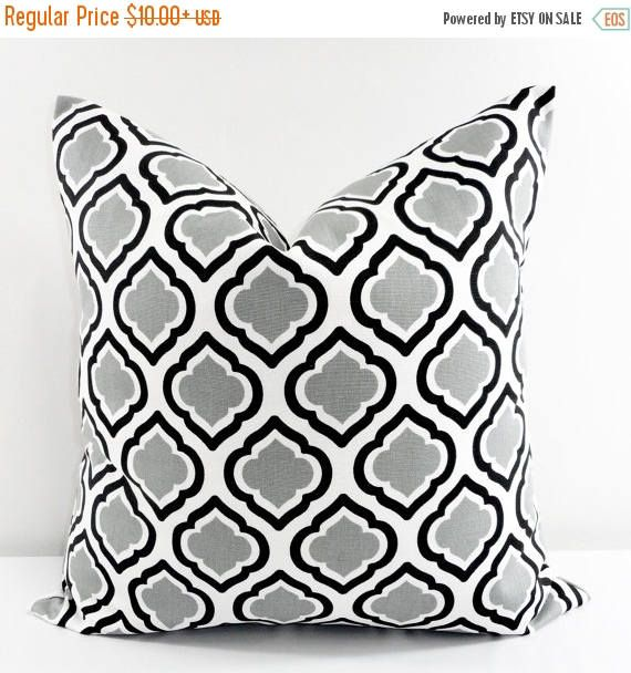 SALE Grey and Black Pillow. Grey black Curtis.Sofa Pillow