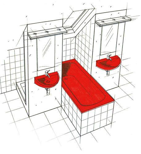 Auf engsten Raum: Zwei Waschbecken, Badewanne – dahinter verborgen Dusche und WC (siehe Grundriss rechts). Durch das Dachflächenfenster über der Wanne fühlt man sich nicht beengt. Außerdem sorgt es für eine gute Belüftung.