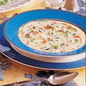 Salmon Chowder- We made this minus the zucchini using leftover grilled salmon.  Add a dash of Franks' hot sauce as desired.