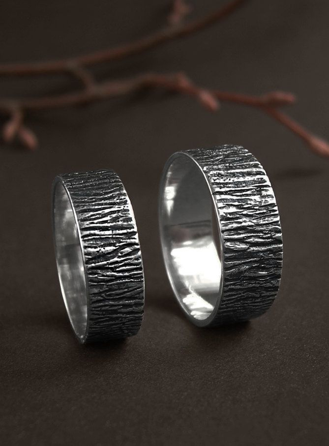 Silver tree bark ring, rustic wedding band, forest wedding ring, natural wedding…