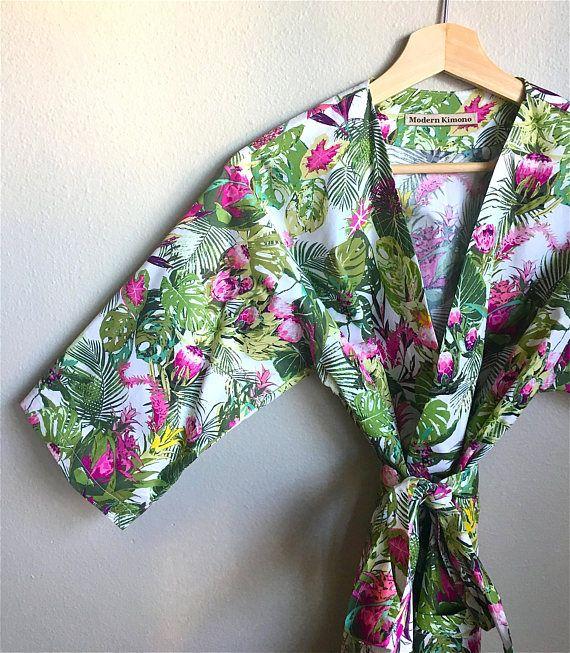 Kimono Robe. Bridesmaid Robes. Dressing Gown. Lush Tropics.