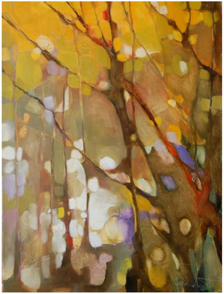 Olivia Pendergast  This reminds me of an out of focus photo. If you squint it looks more like trees. I can imagine a whole series of paintings based on blurry photos of trees, leaves etc. just the essence.