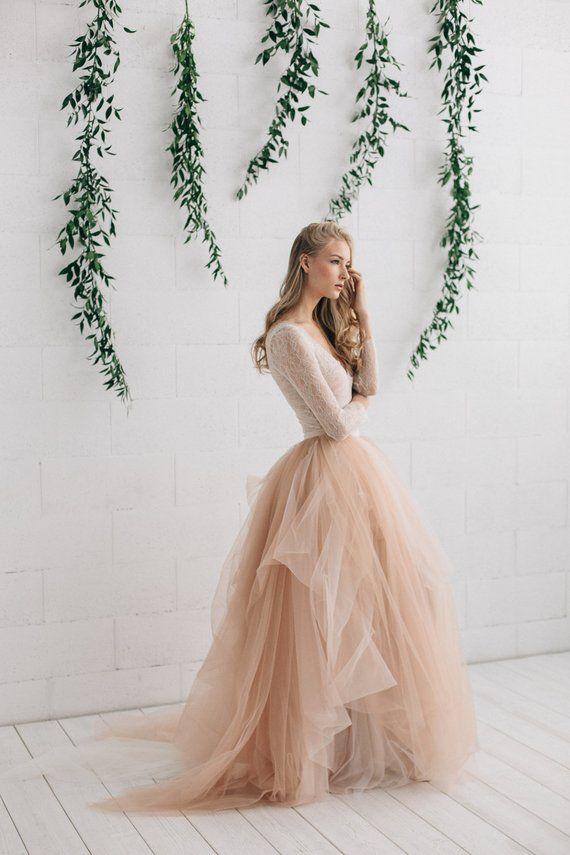 Robe de mariée à deux pièces, robe de mariée à manches longues, mariée se sépare, Jupe en tulle de mariée Ombre avec train, Deep V Dentelle Wedding Top – MELANIE