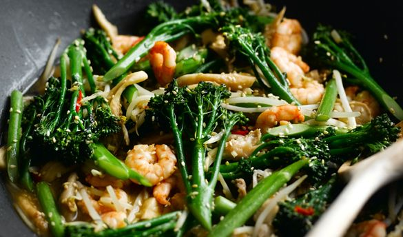 Stir-Fried Prawns and Tenderstem® with Oriental Seasoning - This takes about ten minutes to make from scratch! It's healthy, delicious and a great alternative to a Friday night takeaway. Serve it with noodles or rice and a nice glass of white wine.