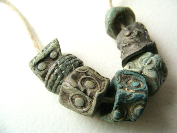 7 Artisan Stoneware Beads - greybird does amazing beads, what I like best about them is the fingerprints...