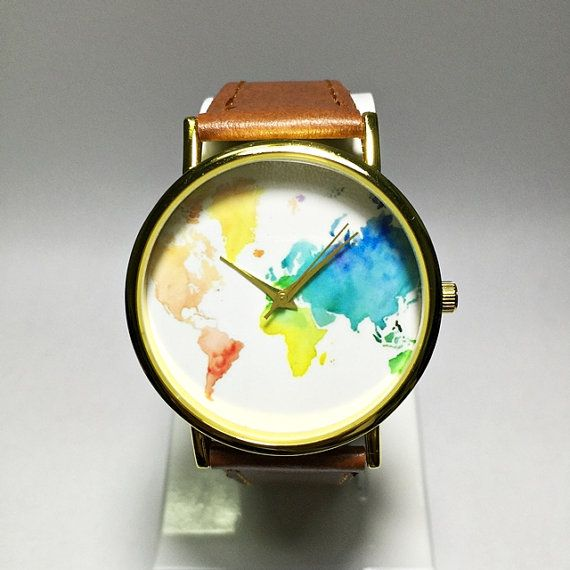 Colored Map Watch World Map Mens Watch Wrist Watch by FreeForme