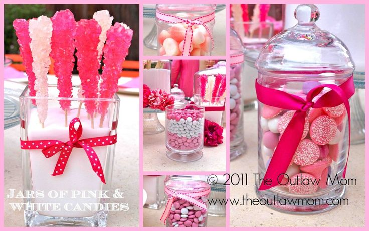 sugar and spice baby shower- love rock candy + pink m ms. this would be good for