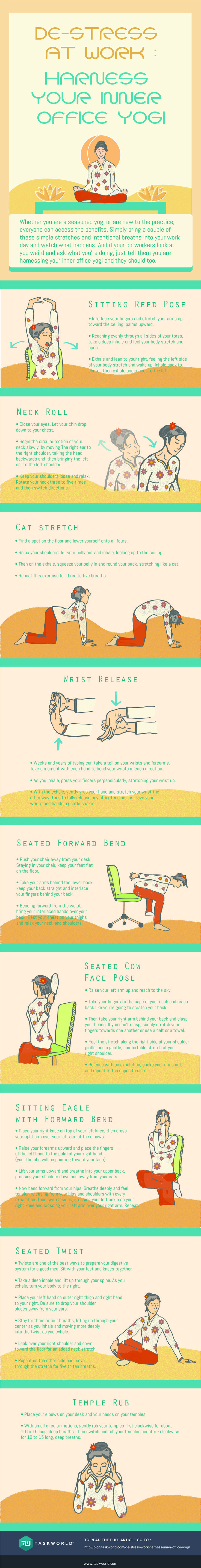 9 Yoga Positions To Destress at Work #Infographic #Yoga #Health #Stress