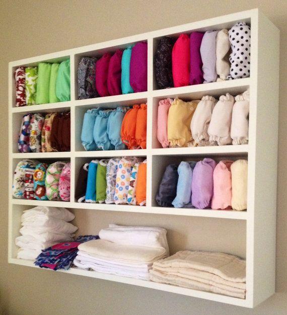 Cloth diaper wall storage idea