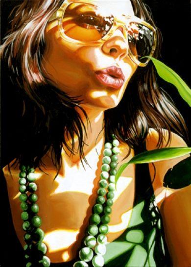 Artist: Steve Smith {contemporary figurative female pretty brunette woman face portrait watercolor painting} ♥ Sensuous !!