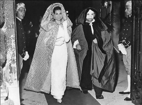 """Prince and Princess of Monaco at the """"Save Venice"""" masked ball at Ca' Rezzonico in Venice, Sept. 9, 1967"""