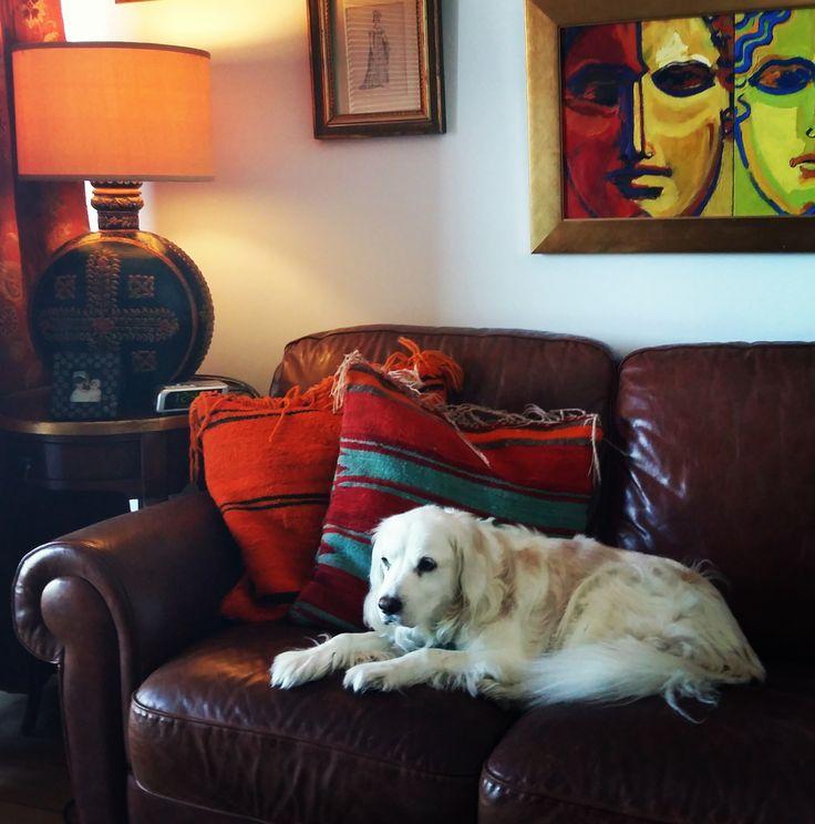 The TV/music room - Charlie's fav. sofa :)