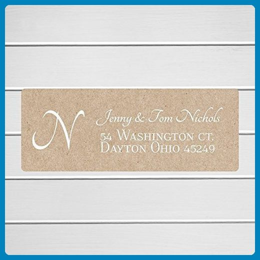 White Ink Initial Return Address Labels on Kraft, Kraft Return Address Stickers, Formal Address Stickers (#310-WKR) - Wedding party invitations (*Amazon Partner-Link)