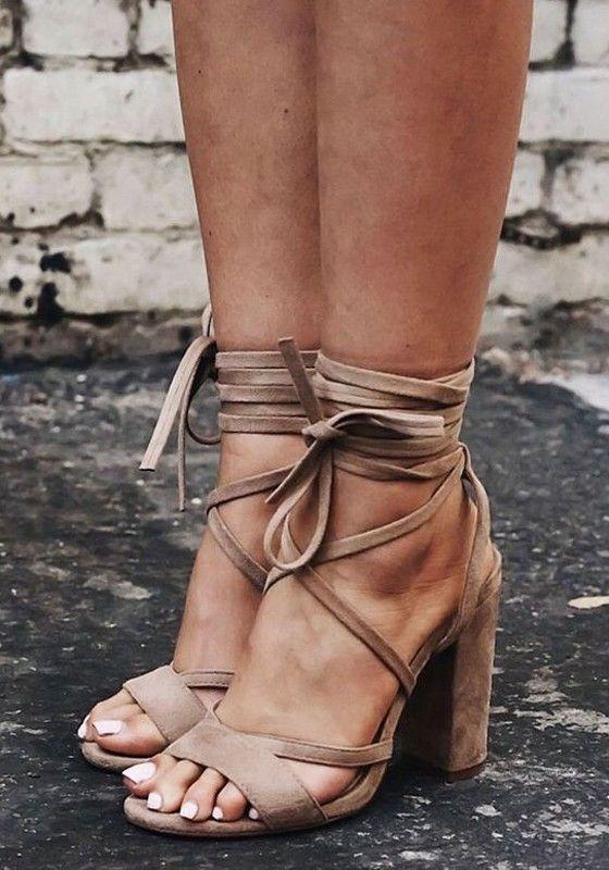 7631f5c2c Apricot Round Toe Chunky Cross Strap Fashion High-Heeled Sandals ...