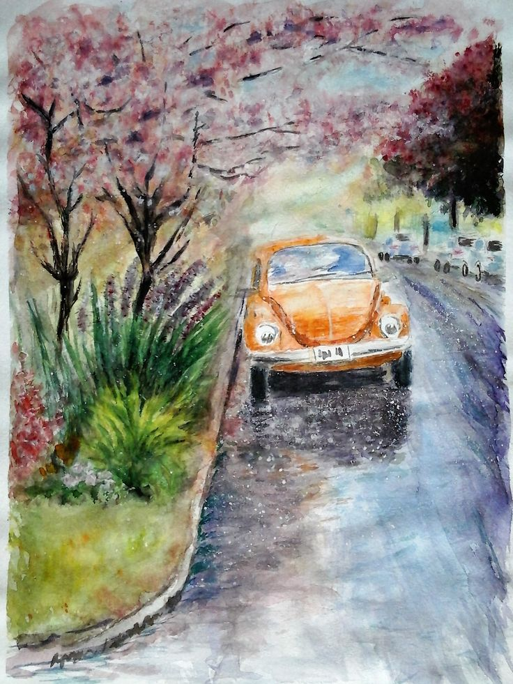 Scent of a Spring Rain / Beetle / Tree in Blossom  Watercolour painting 40 x 30 cm by Karina Andriasyan