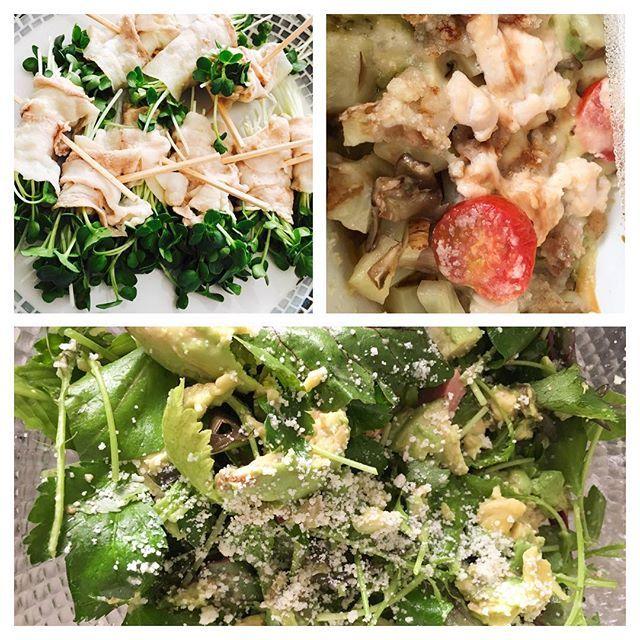 今日の夕ご飯! 支度して、今から仕事!🏋🏻♀️ #ラム肉とアボカドのサラダ #アボカドとチーズのグラタン #カイワレの肉巻き  http://blog.livedoor.jp/yumekana1993/  ゆめかなyumekana1993