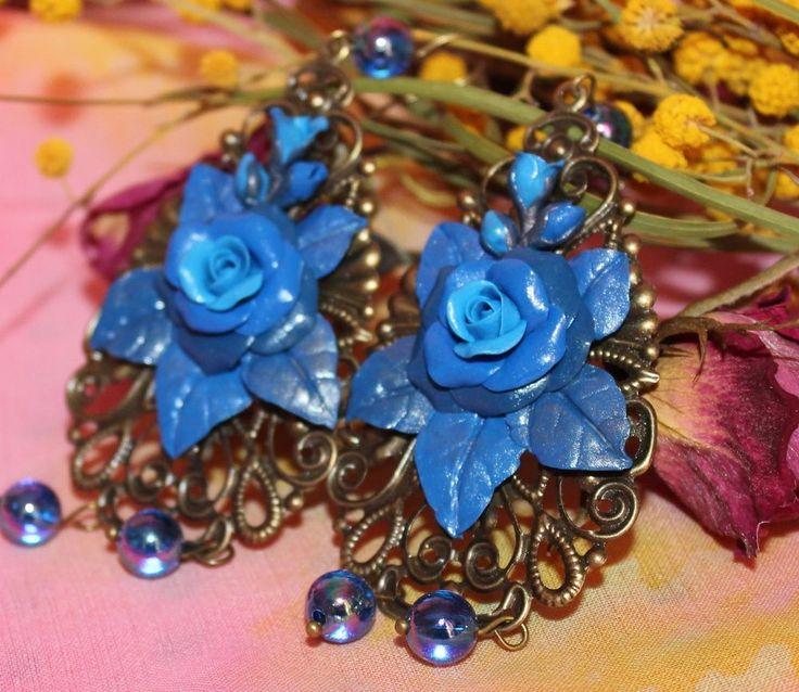 Flower Blue Roses Earrings / Bronze Jewelry / Handmade / Polymer clay #Handmade #DropDangle
