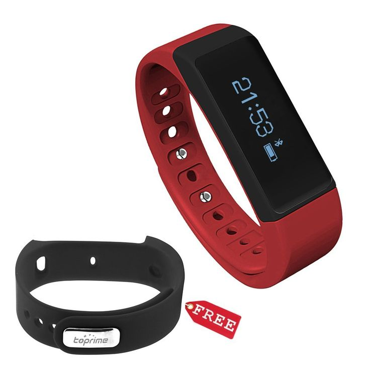 Toprime®Wireless Fitness Activity Wristband Tracker,Red and Black -- You can find more details by visiting the image link.