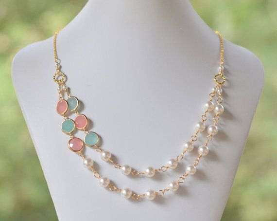 Double Strand Statement Necklace with Coral Pink and Mint Ice Jewels and Swarovski Pearls. Bridal Strand Neklace. Statement Jewelry. on Etsy, $58.00