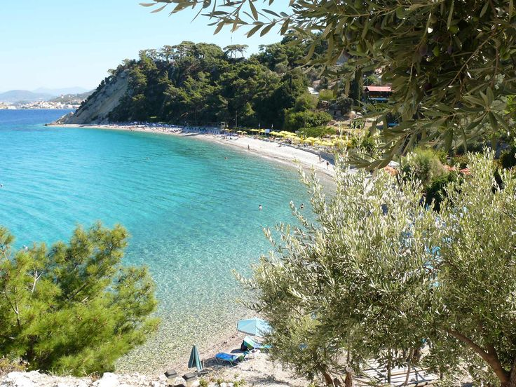Tsamadou is one of the most popular pebble beaches on Samos Island-Greece. With turquoise waters, surrounded by a pine tree forest, Tsamadou is one of the best choices on the island! #samos #greek_island #beach #pebbles #greece #tsamadou
