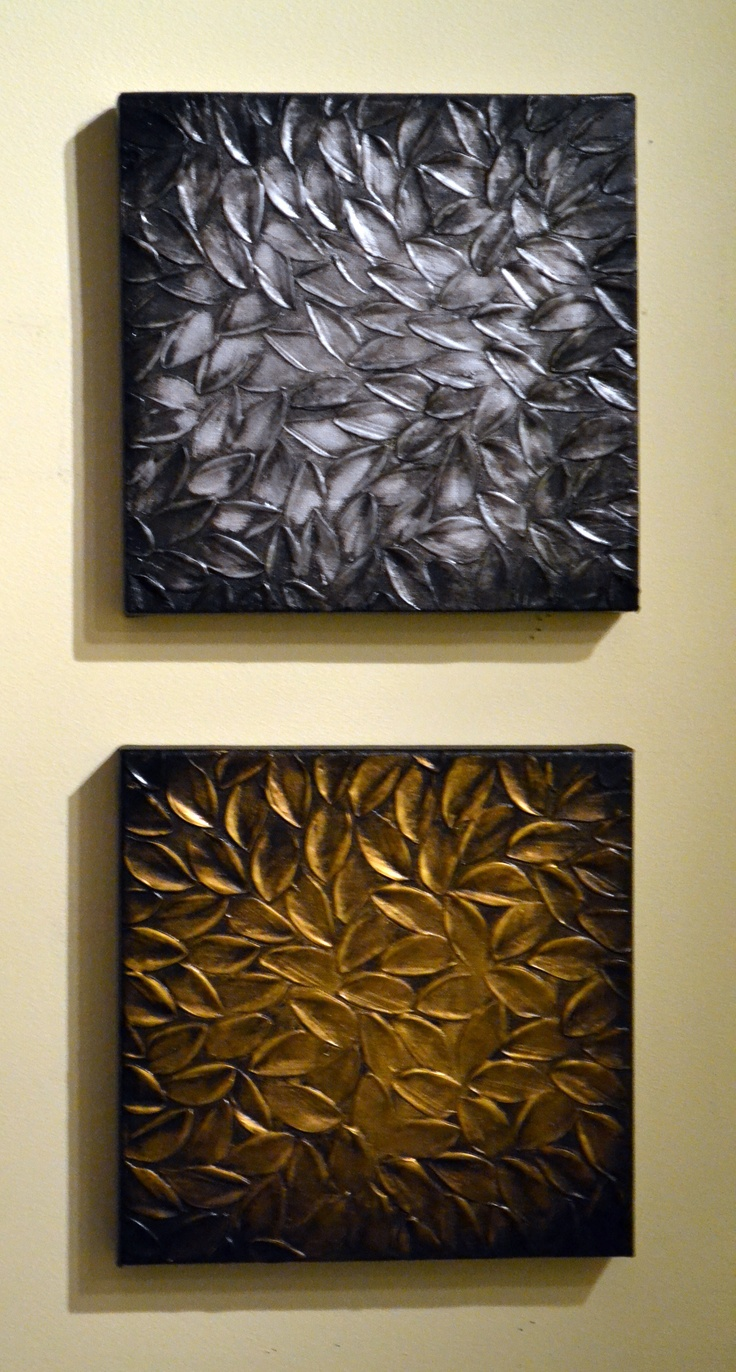 Original Modern Home Decor Sculpture 10x20 Textured Silver Gold Leaves Painting…