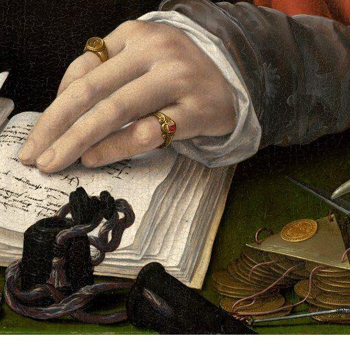 Jean Gossaert: Ritratto di un mercante. Olio su tavola, 1530. National Gallery of Art, Washington, DC. Sul panno verde del tavolo un calamaio nero ed un mucchietto di monete con una bilancina di precisione triangolare: la mano, con due semplici anelli alle dita, tiene aperto il quaderno con le annotazioni che sta scrivendo con la destra.