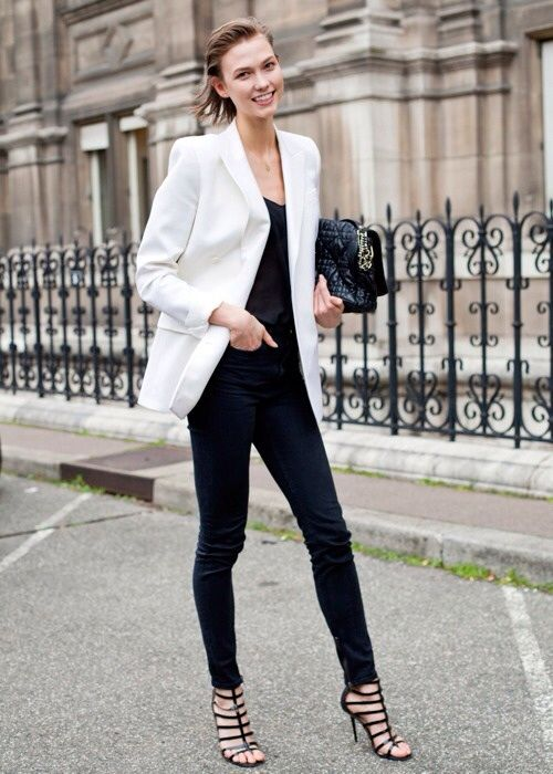 *weekday staple: black skinnies & v-neck under white blazer -- add fun(ky) heels for variety, and/or to bring from (work)day-to-night* #freshface #hairundone