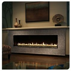 linear fireplace with mantel ideas - Google Search