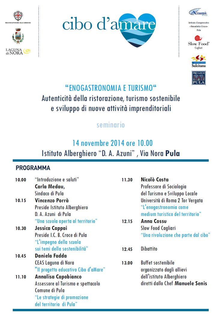 #Pula Seminario Enogastronomia e Turismo Cibo d'amare Gustare il territorio le sue tradizioni http://fb.me/1Eqy0cp0c    Locandina in PDF: http://www.lagunadinora.it/documenti/Locandina_seminario_Enogastronomia_e_Turismo.pdf