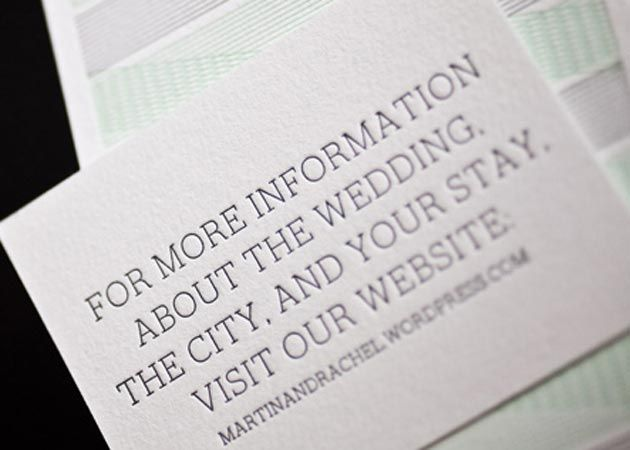 Create website cards to coordinate with your foil stamped and letterpress wedding invitations to share information, directions, and more with your guests.
