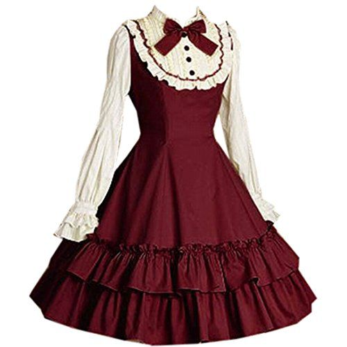 Damen Abendkleid Langarm Klassiker Lolita Kleid Umlegekragen Festliche Ballkleid (X-Small, Weinrot) Fashion Season http://www.amazon.de/dp/B011BF12V8/ref=cm_sw_r_pi_dp_sr8Dwb0E2S4Z8