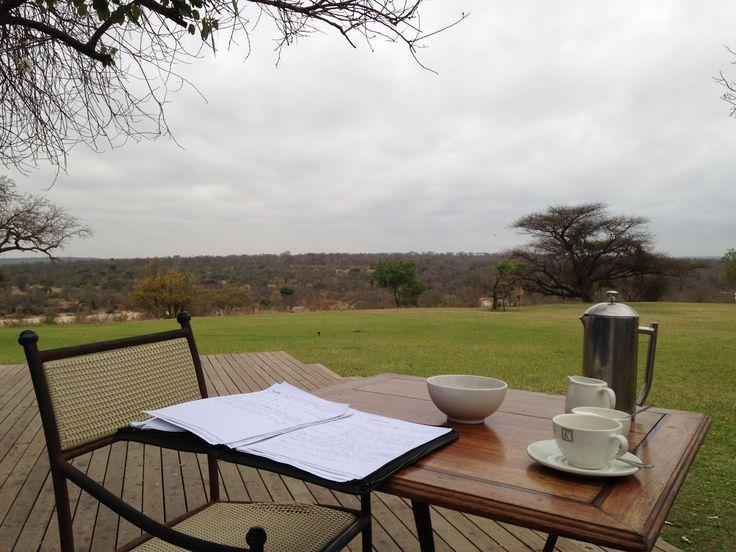 Office work in the Kruger Park bush.