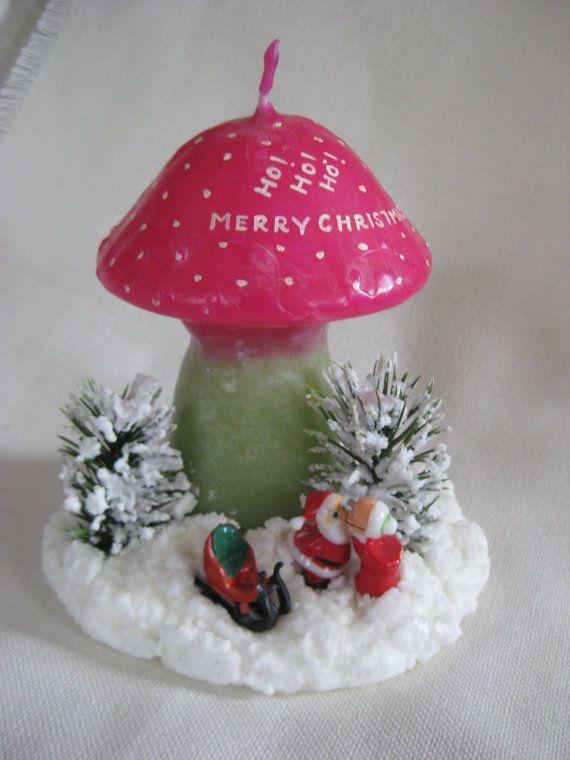 Vintage KITSCH Merry Christmas Mushroom by VintageByThePound, $16.00