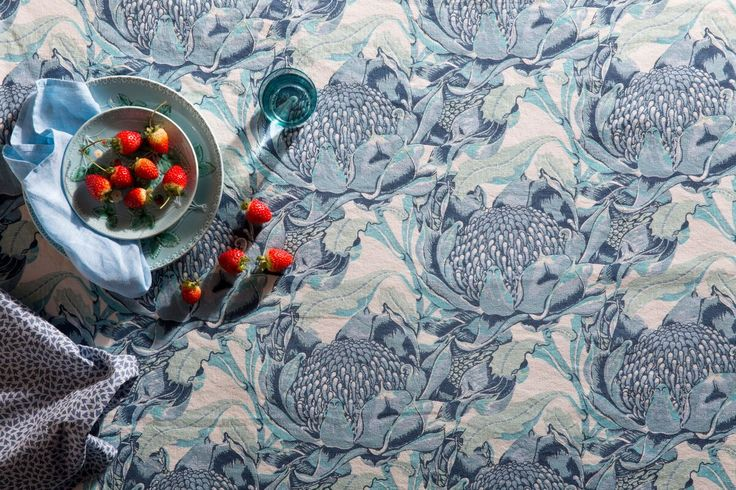 Utopia Goods reimagines Australia's wild waratah in sky blue is perfect for any table setting, upholstery fabric or soft furnishings.