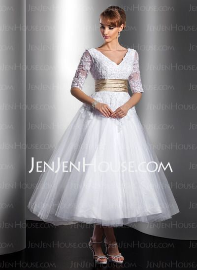 A-Line/Princess V-neck Ankle-Length Satin Tulle Wedding Dresses With Lace Sashes Beadwork (002014739)