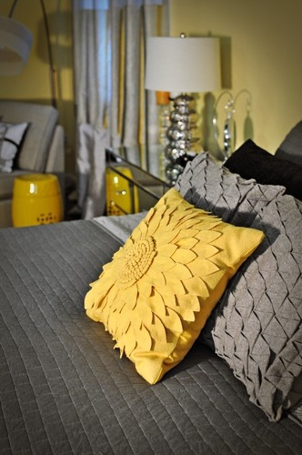Contemporary Bedroom Photos Grey And Yellow Design, Pictures, Remodel, Decor and Ideas - page 3
