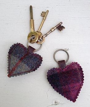 Tweed Heart Keyring