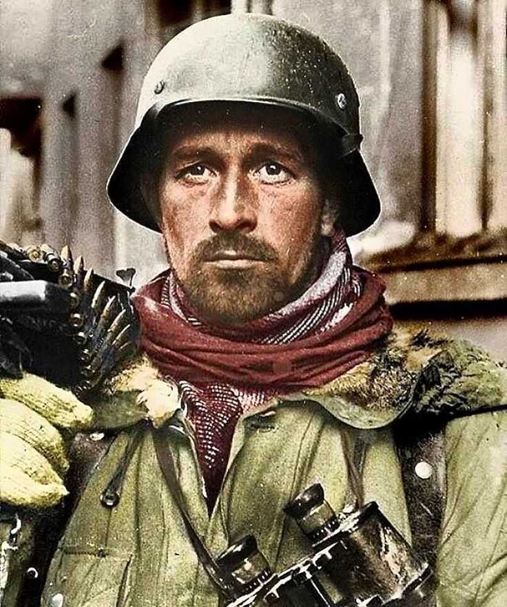 An exhausted German soldier exhibits the thousand yard stare during the 3rd Battle Of Kharkov,…