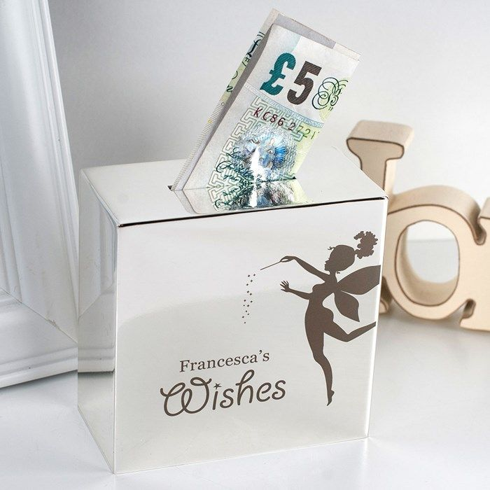Personalised Silver Money Box - Fairy Wishes | Personalised Gifts | Gifts for Mum