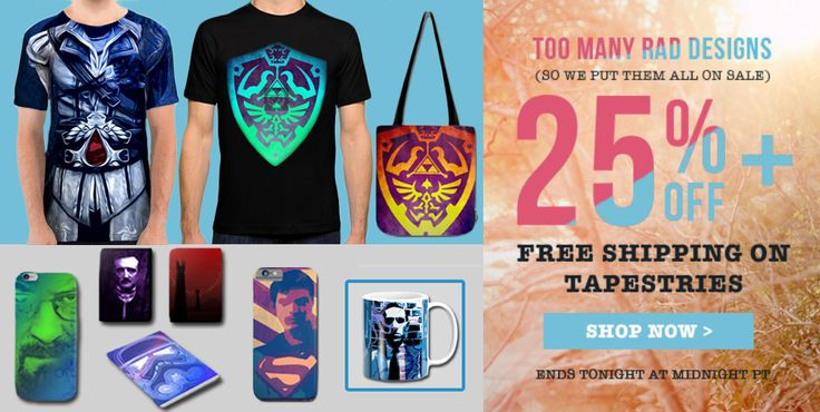 25% OFF + FREE SHIPPING on Wall Tapestries. #discount #tshirts #sales #walltapestries #freeshipping #save #gifts #breakingbad #legendofzelda #lovecraft #superman #trooper #poe #giftsforhim #giftsforher #society6 #postcards #totebag #coffeemug #notebook