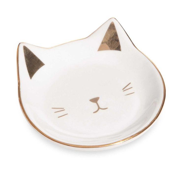 Coppetta portagioie bianca e dorata in ceramica CAT