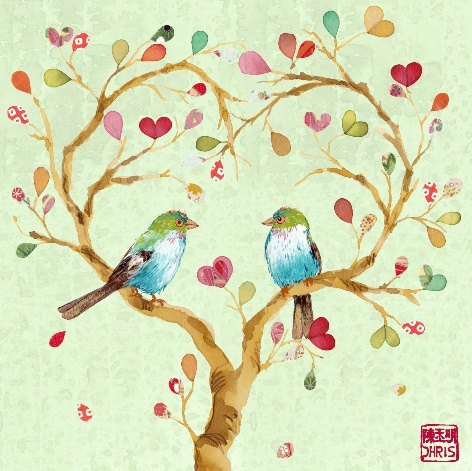 More love, more birds.Wall Art, Trees Art, Birds Art, Heart Heart, Valentine Day, Birds Pictures, Birds Paintings, Heart Art, Happy Valentine