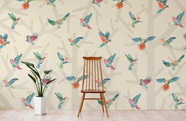 Vögel retro Wand dekorieren Wohnzimmer decorating Pinterest