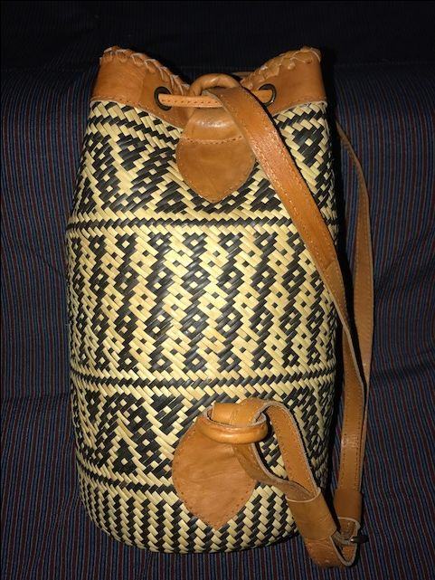 Leather Trimmed Anjat-style Rattan Basket/Backpack/Beach Tote