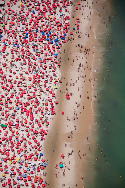 Umbrellas on Copacabana Beach. #brazil: De Janiero, Rio De Janeiro, Art, Aerial Photography, Gray Malin, Red Umbrella, Aerial Image