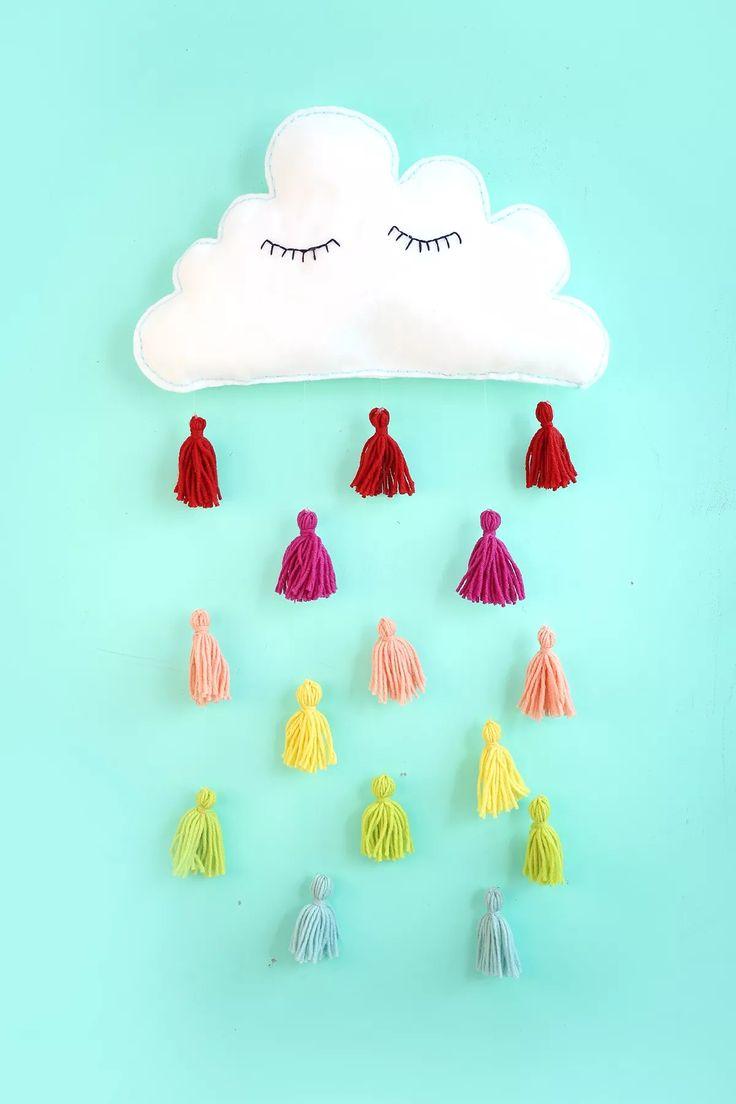 DIY cloud and tassels wall decor.