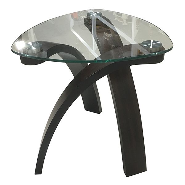 Traveler- Contemporary Side Table || Contemporary side table with dark expresso legs and clear glass top. Dimensions: 23 x 23 x 24