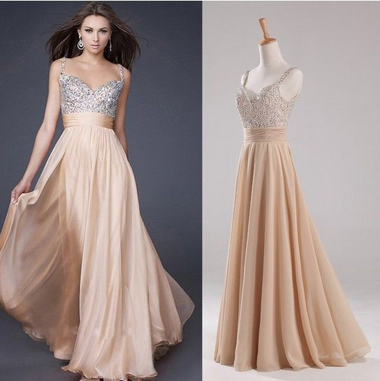 Hot A-line Spagetti Straps Floor Length Champagne Chiffon Squins Elegant Evening Dresses Party Prom Dresses/Prom Gowns 2014 US $65.00