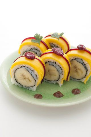 brazilian-style sushi roll with banana and chocolate sauce