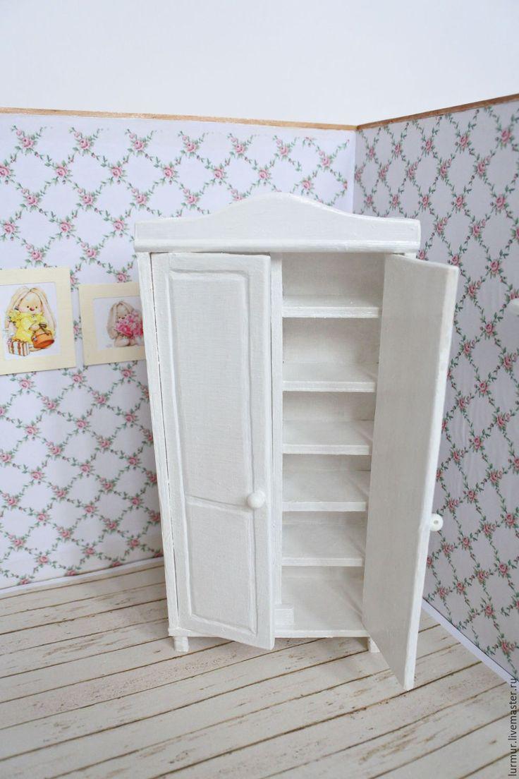 """Купить Шкаф """"Нежность"""" в стиле Шебби Шик - мебель для кукол, кукольная мебель, кукольный дом"""